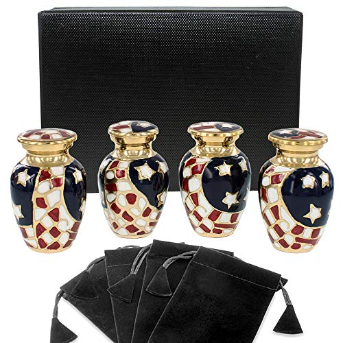 (Patriotic Small Mini Keepsake Urns for Human Ashes - Set of 4 - for Veterans First Responders and Patriots That Loved America - Find Comfort and Pride with These Urns - w Velvet Case and 4 Pouches)