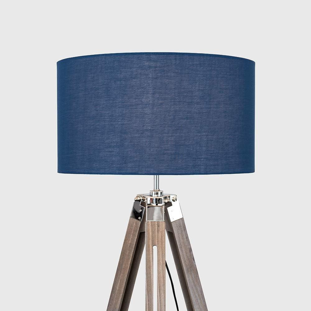 Modern Light Wood /& Chrome Tripod Floor Lamp with a Navy Drum Shade
