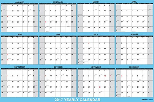 SwiftGlimpse Wall Calendar 2017, Yearly, 24 x 36', Horizontal, 12 Months (Laminated Dry-Erase)