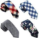 Casual Skinny Neckties for Men Cotton Plaid/Floral Slim Tie TG-004