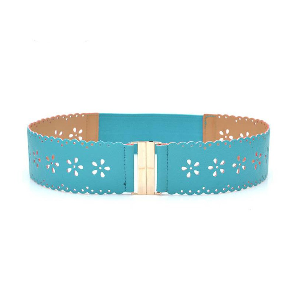 Fashion hollow flowers superwide decorative elastic belt