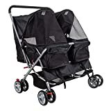 KARMAS PRODUCT 4-Wheel Double Pet Stroller Cat Dog Walk Travel Folding Carrier for 2 Pets