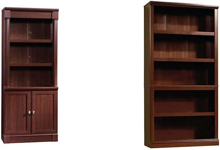 Sauder Palladia Library with Doors, Select Cherry Finish & 5 Shelf Bookcase, Select Cherry Finish
