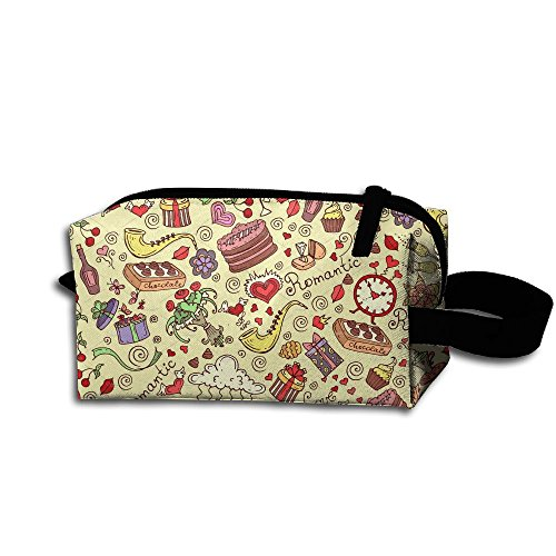 Tavel Storage Tools Bag, Canvas Pattern With Romantic Symbols Tool Pouch Tote Bags With Zipper