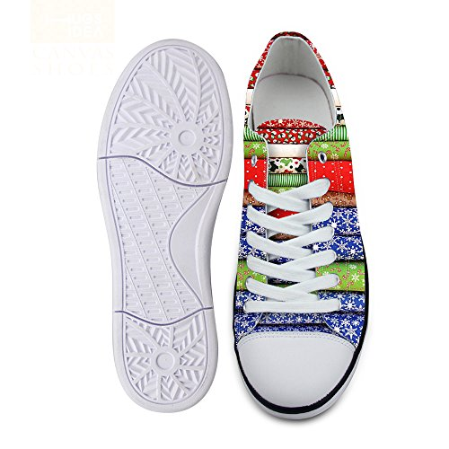 For U Design Stilig Unisex Stripe Bølge Utskrifts Lave Topp Flate Sko Lette Mote Sneaker Blonder-up Multi C1
