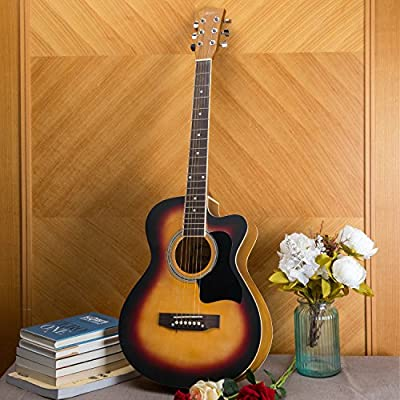Artall 39/41 Inch Handmade Solid Wood Acoustic Guitar, Cutaway Guitar Beginner Kit with Gig bag, Tuner, Strings, Picks, Strap