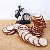 """Natural Wood Slices SOLEDI 30 PCS 2.4""""-2.8"""" Unfinished Predrilled with Hole Wooden Circles, with 33 ft Natural Jute Twine and 72ft Red Ribbon Great DIY Crafts, Halloween Decorations and Xmas Ornaments"""