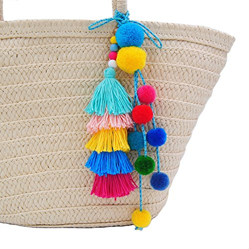 MOWANG Colorful Pompom Ball Tassel Pendant Handbag Ornaments Purse Charm Decor (#1)