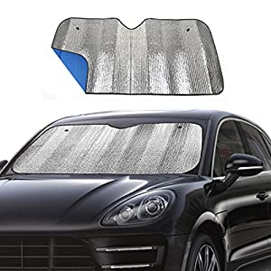 "Big Ant Windshield Sunshade for Car Foldable UV Ray Reflector Auto Front Window Sun Shade Visor Shield Cover, Keeps Vehicle Cool - Blue (55"" x 27.5"")"