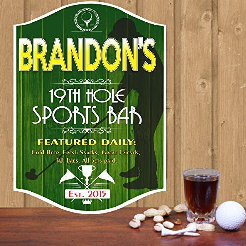 - weewen Th Hole Golf Personalized Bar Man Cave Pub Decor Vintage Custom Home Classic Clubs Established Date Silhouette Golfer Home Decor Wall Art Plaque