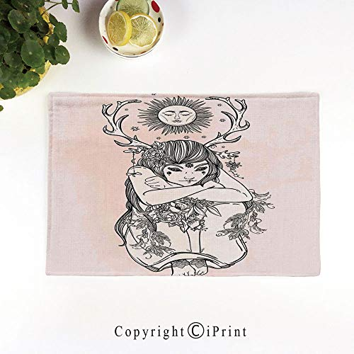 (LIFEDZYLJH Machine Washable Placemats - Handcrafted with Classic Hemstitch & Mitered Corners,Art Image of Naked Girl Under Sun Sublime Fairy of Nature Cosmos Nymph Deity,Pink Black)