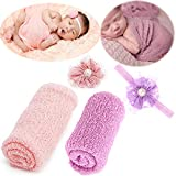Newborn Baby Photography Props - Long Ripple Wrap Blanket and Lace Beads Headb