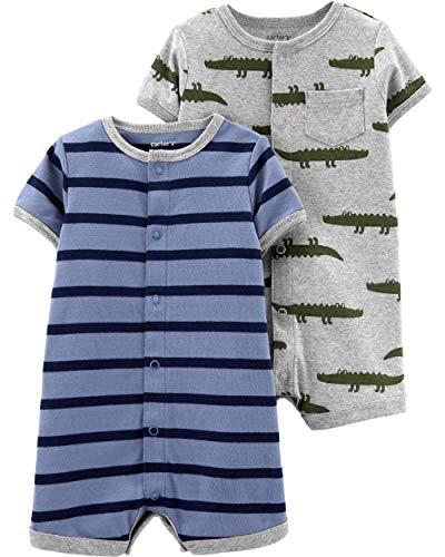 (Carter's Baby Boys 2-Pack Snap-up Romper, Tugboat/Alligator, 12)