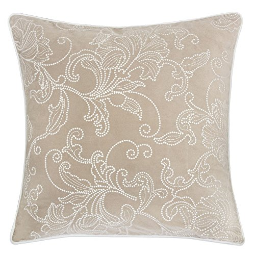 Homey Cozy Embroidery Velvet Throw Pillow Cover,Beige Series Latte Silver Floral Soft Fuzzy Cozy Warm Slik Decorative Square Couch Cushion Pillow Case 20 x 20 Inch, Cover (Floral Square Decorative Pillow)