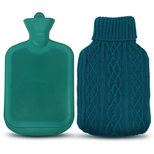 AZMED Classic Hot Water Bottle Made of Premium Rubber, Ideal for Quick Pain Relief and Comfort, Knitted Bottle Cover Included, 2 Liters, Green