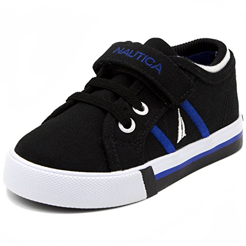 (Nautica Toddler Edge View Canvas Sneakers Elastic and Adjustable Strap Casual Shoes-Black-10)