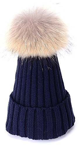 BingGe Womens Girls Winter Fur Hat Real Large Raccoon Fur Pom Pom Beanie Winter Hats