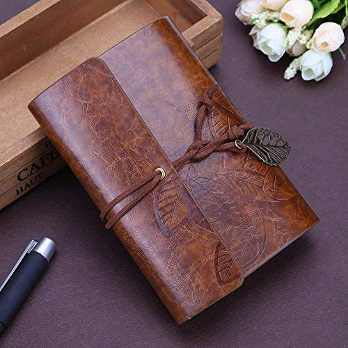 (Retro Notepad Leather Journal Notebook Classic Retro Spiral Ring Binder Diary Book,Creative and Beautiful Leaves Student Leather String Diary Notepad (brown))