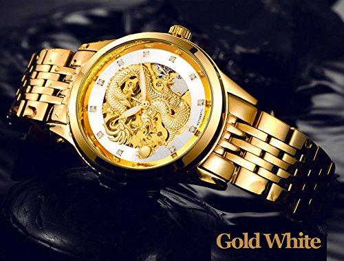 Kteta - Reloj mecánico automático para hombre con diseño de dragón y mecanismo al descubierto, correa de acero inoxidable (dorado y blanco).