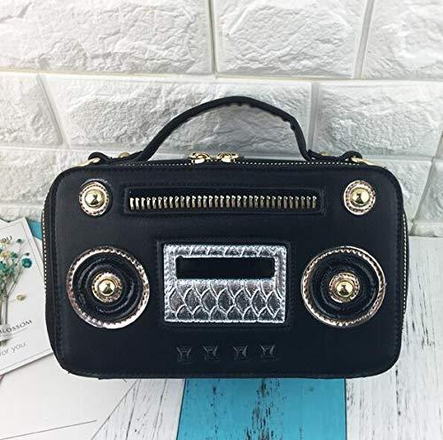 elaborazione Pnizun Rosa di borsa signore cuoio spalla Unico Nero box delle della radio bag patta donne retrò messenger crossbody dell'unità della del catena Moda della borsa della con FxwrqzTF