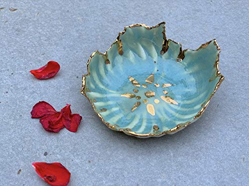 - Celadon Gold and White Ring Dish handmade pottery - stock photo, please read description