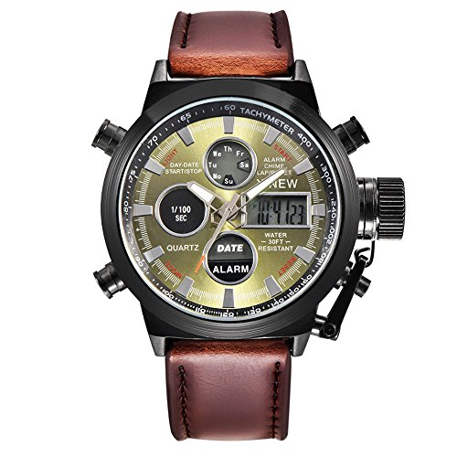 Mens Sport Watch Digital Analog Quartz Waterproof Multifunctional Military Army LED Leather Wrist Watches (A)