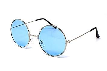 b74667b743 UltraByEasyPeasyStore Plata Enmarcada con Lentes Azules Adultos Gafas De  Sol Redondas Estilo Retro John Lennon Calidad Vintage UV400 Elton Hombres  Mujeres ...