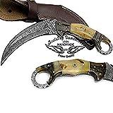 "Ram Horn 8.2"" Fixed Blade Custom Handmade Damascus Steel Hunting Knife 100% Prime Quality For Sale"