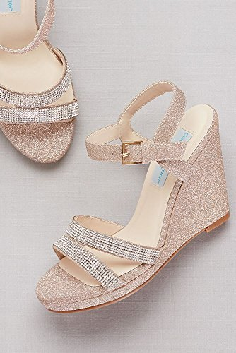 Weddings De La Plataforma De Davids Bridal Glitter Con Correas De Cristal Estilo Amy Rose Gold