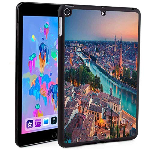 iPad 5th/6th Generation Case,Verona Italy During Summer Sunset Blue Hour Adige River Medieval Historcal Print iPad Fold Stand Cover Print (Custom Pattern iPad Mini 5 case)