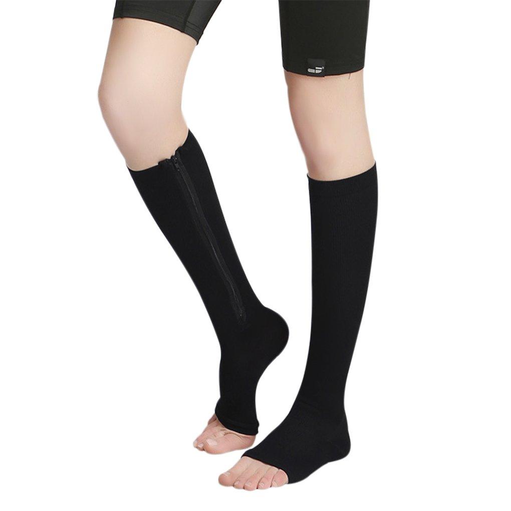Open Toe Compression Sock, Support Zipper Stocking for Varicose Veins Edema Swollen Sore Legs, Help Circulation Pain Relief Anti Fatigue, Dance Workout Running Yoga Pilates Sleeve Socks Black