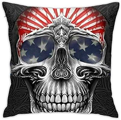 BEDKKJY US Star Flag Skull Decorativa Suave Cuadrada con ...