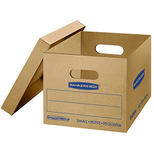 Bankers Box SmoothMove Classic Moving Boxes, Tape-Free Assembly, Easy Carry Handles, Small, 15 x 12 x 10 inches, 10 Pack (7714901) by Bankers Box