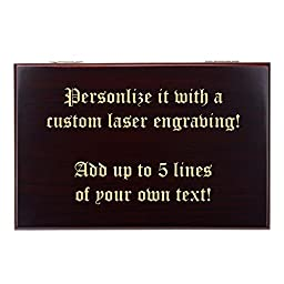 Personalized Quality Importers 10 Cigar Travel Humidor - The Traveler, Custom Laser Engraved Mahogany