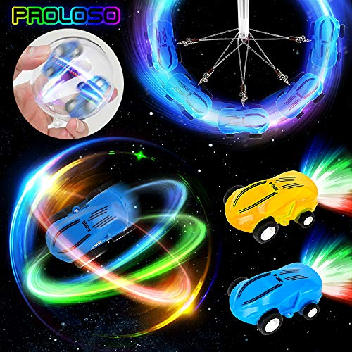 (PROLOSO Mini High Speed Toy Cars Stunt Racers- USB Rechargeable LED Light Up Race Cars Glow in The Dark Pocket Spinner Toys with Keychain 2 Sets)