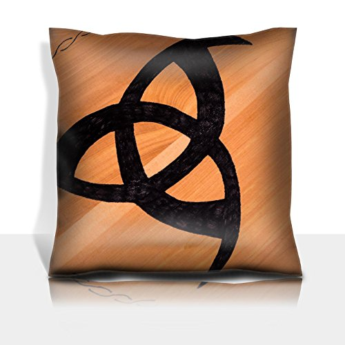(MSD Throw Pillowcase Polyester Satin Comfortable Decorative Soft Pillow Covers Protector sofa 16x16, 1pack IMAGE 35487476 Handmade Typical Tribal Black Sign on a Wooden Surfface)