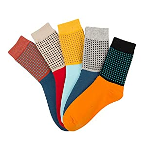 ARTALL New Year Gift 5 Pack Mens Vintage Cotton Contrast Color Crew Socks,Circle Dot Pattern,Size 12-13