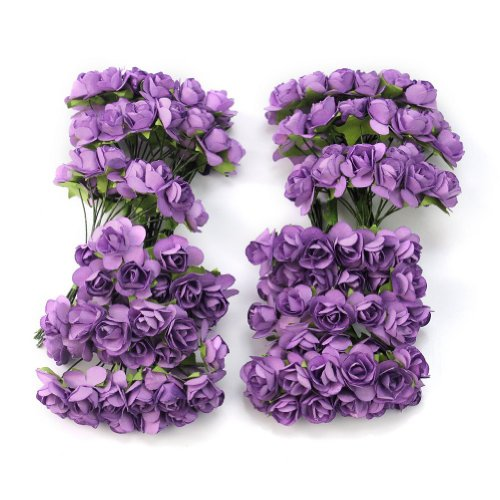 (Worldoor Pack of 144pcs Chic Mini Artificial Paper Rose Flower Wedding Card Decor Craft DIY - Purple)