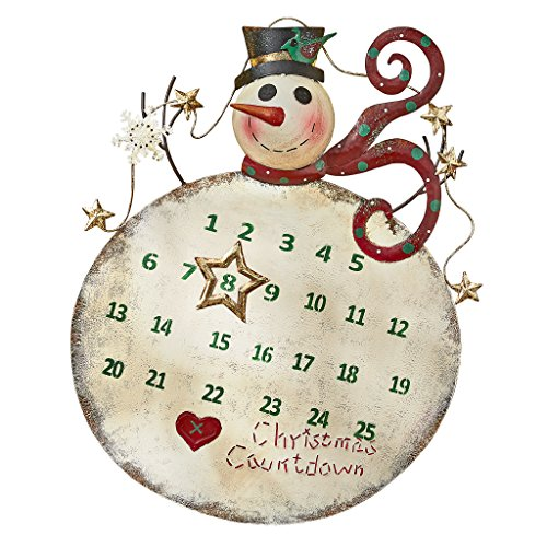 Design Toscano Christmas Countdown Snowman Advent Calendar Metal Holiday Wall Art