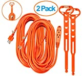 Aurum Cables 40 Feet 3 Outlet Extension Cord 14AWG Indoor/Outdoor Use - 2 Pack Orange - With Extension Cord Holders - UL Listed