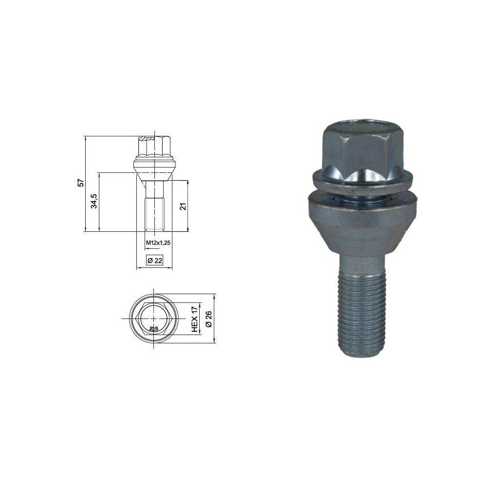 Blanc galvanis/é Cl/é 17 Longueur 57 mm EvoCorse Vis de fixation de roue flottante M12x1.25 4 pcs