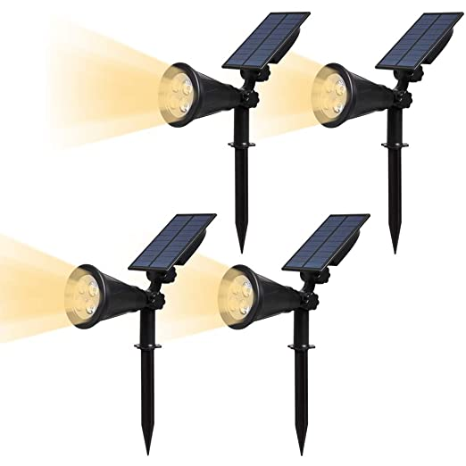 Lampade Solari Da Giardino Amazon.T Sun Faretti Led Solari Regolabile Ip65 Impermeabile Lampada Solare Da Esterno Con 4 Led Avanzati 2 Modalita Funzione Bianco Naturale 4000k Luci