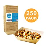 [250 Pack] 2 lb Heavy Duty Disposable Kraft Brown Paper Food Trays Grease Resistant Fast Food Paperboard Boat Basket for Parties Fairs Picnics Carnivals, Holds Tacos Nachos Fries Hot Corn Dogs