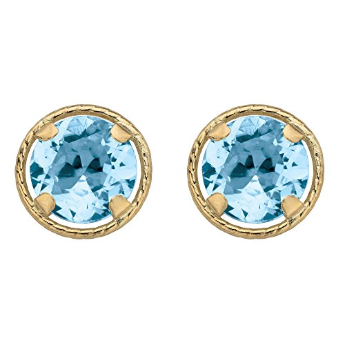 - 10k Yellow Gold Round Genuine Birthstone Halo Stud Earrings