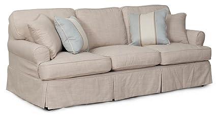 Amazon.com: Sunset Trading 85 in. Slipcovered Sofa in Linen: Kitchen ...