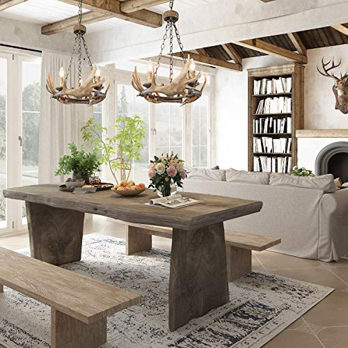 LOG BARN 3 Lights Farmhouse Faux Antlers Chandelier in Hand-Polished Resin and Rusty Metal Finish, 19.7 Medium Center Island Pendant Lighting for Living Room, A03433