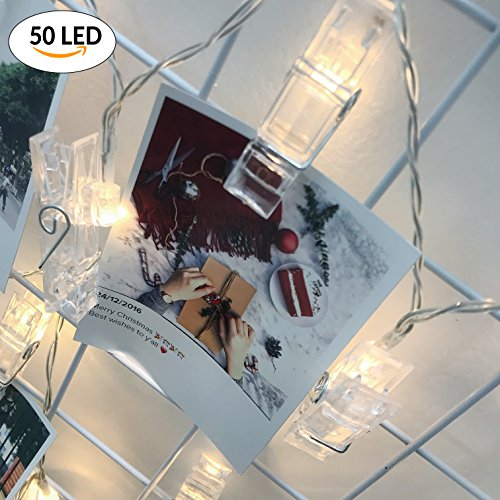 Photo Clips String Lights, 50 LED Battery Operated Starry Firefly Decoration Strand Lights, 17 Feet Fairy Twinkle Lights for Wedding Christmas Decor (Warm White) by - Plains At White Stores Mall