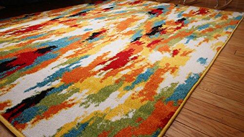 RADIANCE ant6001_6x8 Art Collection Contemporary Modern Splat Wool Area Rug, 5'2 x 7'3, Multicolor