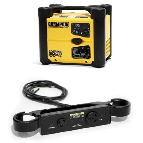Champion 73536i 1700 Running Watts/2000 Starting Watts Gas Powered Portable Inverter and Parallel Kit Bundle