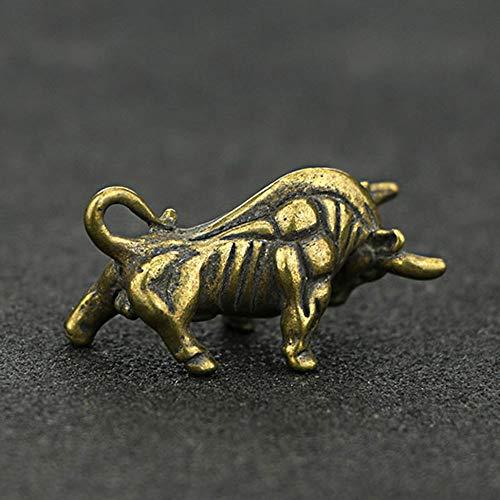 QWERWEFR Mini Portable Retro Brass Wall Street Bull Statue Keychain Ornament Sculpture Home Office Desk Decorative Ornament Hand Toy - Metal Keychain Bull